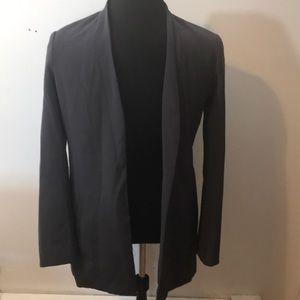 H Halston Sz 10 Grey Open Blazer with Pockets XC